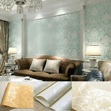 Beige White Blue Gold Wall Paper Wallpaper Embossed Textured Roll Non-woven New