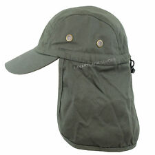 SUN PROTECTION FLAP CAP HAT MILITARY OLIVE GREEN ONE SIZE BASEBALL TYPE HAT