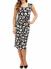 NEW PRECIS PETITE BLACK CANNES JERSEY FEATHER PRINT DRESS SIZE 6-10 (RRP£99)