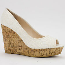 Womens Beige Nude Peep-Toe Lace Canvas Cork Platform Wedge Bamboo Parker-42