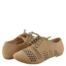 Women's Shoes Bamboo Lynda 47A Lace Up Perforated Oxford Nude Nubuck *New*