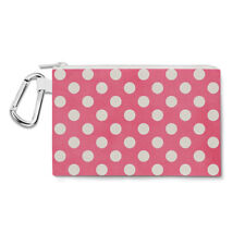 Polka Dots on Hot Pink Canvas Zip Pouch - Pencil Case Multi Purpose Makeup Bag