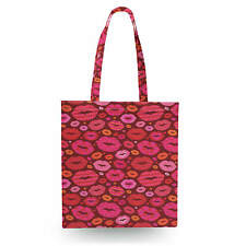 Hot Lips Canvas Tote Bag - 16x16 inch Book Gym Bag Optional Zip