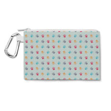 Paw Prints Canvas Zip Pouch - Pencil Case Multi Purpose Makeup Bag