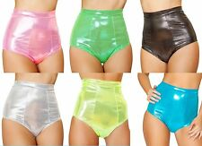 Sexy Womens Metallic Tight Band High Waisted Shorts Panties with Cheeky Cut Back