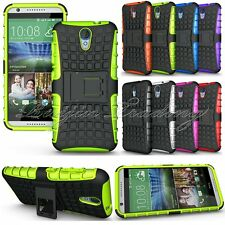 Hybrid Dual Layer Impact Hard Armor Case Cover w/ Kickstand For HTC Desire 620
