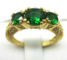 Jewelry Fashion Women's Wedding Ring 10KT Yellow Gold Filled Emerald Size:7/8/9