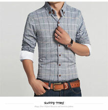 Men's Stylish Luxury Plaid Long Sleeve Slim Fit Business Dress Casual Shirts