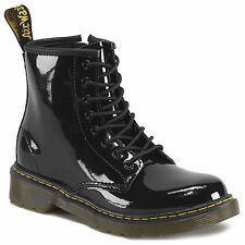 DR. MARTENS DELANEY KIDS BOYS GIRLS  BLACK PATENT LEATHER BOOTS