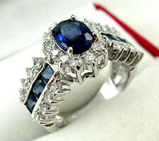Jewelry Fashion Women's Ring 10KT White Gold Filled Sapphire Size:7/8/9
