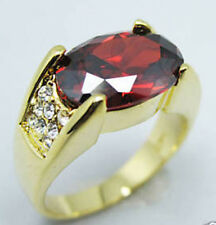 Jewelry Fashion Nice 10KT Yellow Gold Filled Ruby Men's ring Size:10 11