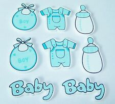 8pcs Wooden Blue Baby Embellishments, card making, scrapbooking, baby shower
