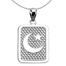 Sterling Silver Crescent Moon Engravable Dog Tag Pendant Necklace