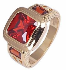 Size:10 11 Jewelry Generous 10KT Yellow Gold Filled Men's Ruby Ring