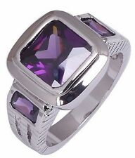 Size:10 11 Jewelry Generous 10KT White Gold Filled Men's Amethyst Ring