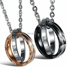 Stainless Steel ETERNAL LOVE Engagement Promise Ring Couple Pendant Necklaces