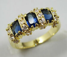 Women's Nice Jewelry Pretty 10KT Yellow Gold Filled Sapphire Ring Size:7 8 9