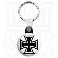 Square Iron Cross - 25mm Biker Keyring Button Badge with Zip Pull Option