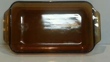 Anchor Hocking Amber Glass 432 1.5 Qt Casserole Cake Pan Baking Dish Vintage