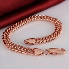 Charm Fashion Womens Swarovski 18K Rose Gold Plated Chain Link Bracelet Jewelry