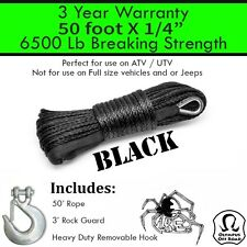 "1/4"" x 50' Black Synthetic Winch Line Cable Rope 6500+ LB with Sheath (ATV UTV)"