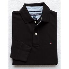 New Tommy Hilfiger Men's Long Sleeve Solid Polo Shirt Size S, M, L, XL, Black