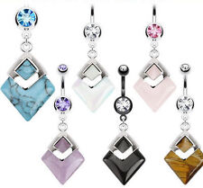 surgical steel 316L Semi Precious Stone Navel Belly Button Bar Ring Dangle