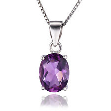 1.7ct Genuine Amethyst Pendant Necklace Chain Solid 925 Sterling Silver Oval