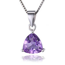 1.6ct Natural Amethyst Trillion Pendant Necklace Chain Solid 925 Sterling Silver