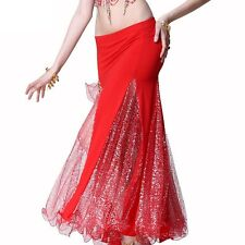 US1192# Belly Dance Costume Slit Yarn fishtail Skirt 9 Colors
