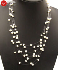 """SALE 6-7mm natural white Freshwater Starriness Pearl 8 strands 18"""" Necklace-5060"""