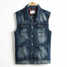 New Men's Casual Jean Sleeveless Biker Trucker Jacket Outwear Denim Vest M3030