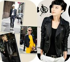 2015 Fashion Womens Leather Slim Fit Motorcycle Leather Jacket Coat Rock & Roll