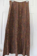 Lapis Los Angeles Womens Brown Paisley Print Maxi Skirt Elastic Waist Size L USA