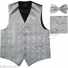 SILVER XS to 6XL Paisley Tuxedo Vest Waistcoat & BUTTERFLY Bow tie & And Hankie