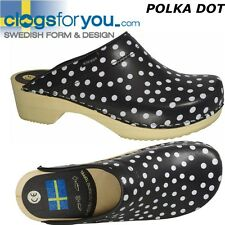 POLKA DOT QUALITY Clogs Scandinavian Natural Leather Wooden Soles Holzclogs