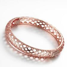 Fashion Lady 18K Gold GP Hollow Brass Bangle Cuff Open Bracelet Net Design 4G1R