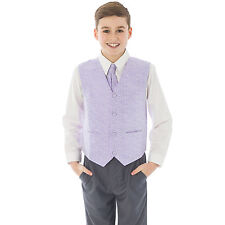 Boys Suits 4 Piece Grey Waistcoat Suit Lilac Swirl Pageboy Party Formal Wedding
