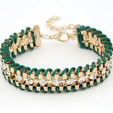 Fashion Charm Alloy Bangle Woven Leather Rhinestone Cute Thick Bracelet Jewelry