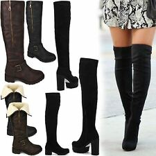 LADIES WOMENS OVER THE KNEE LONG THIGH HIGH CHUNKY PLATFORM HEEL STRETCH BOOTS