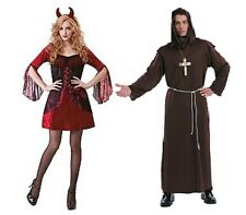 NWT COUPLES HALLOWEEN COSTUME - GOOD VERSUS EVIL - MONK AND DEVIL GOOD VS BAD