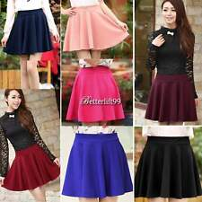 Sexy Women Candy Color Stretch High Waist Plain Skater Flared Pleated Mini Skirt