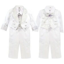 Boys Wedding Embroidery Design Tuxedo w/ Tail Bow Tie Vest Ring Bearer Suit#4013
