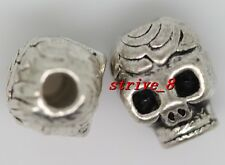 10/40/200pcs Tibetan Silver two-sided 3D Rose Skull Charms Spacer Beads 10x7mm