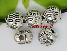 Lot 15/60/300pcs Tibetan Silver two-sided Buddha head Charms Spacer Beads 8x7mm