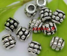 50/200/1000pcs Antique Silver Cylindrical Beads Jewelry Charms Spacer Beads 4mm