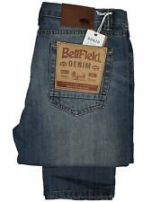 MENS NEW SLIM FIT TAPERED LEG JEANS BELLFIELD IN STONEWASH COLOUR RRP £34.99