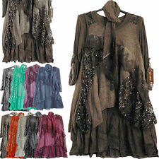 NEW WOMENS ITALIAN LAGENLOOK QUIRKY LAYERED 3 PIECE TUNIC DRESS FREE SIZE 12-20