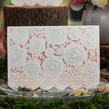 Pretty Laser Cut out Floral Design Wedding Invitations Cards and Envelopes,Seals