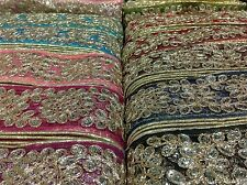 Fancy Gold Sequin Indian Lace Trim Ethnic Organza Ribbon Craft Sari Border 1Yard